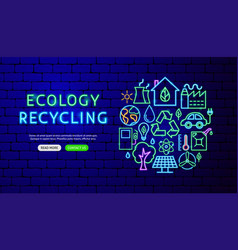 ecology neon banner design vector image