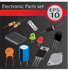 Electronic parts set flat style vector