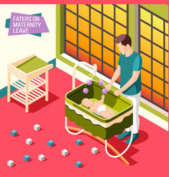 Fathers on maternity leave isometric poster vector
