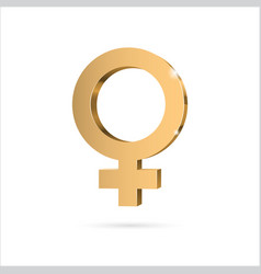 female gender symbol venus gold 3d symbol vector image