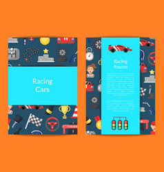 Flat car racing icons card on blue vector