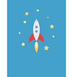 for Card with Rocket in Space vector image