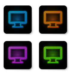 glowing neon computer monitor screen icon vector image