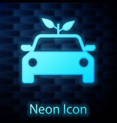 glowing neon eco car concept drive with leaf icon vector image