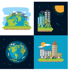 Green cities collection vector