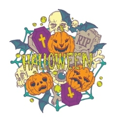 Halloween card with pumpkins and horror elements vector