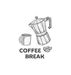 hand drawing coffee set vector image