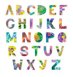 hand drawn latin artistic alphabet vector image