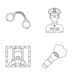 Handcuffs policeman prisoner flashlightpolice vector
