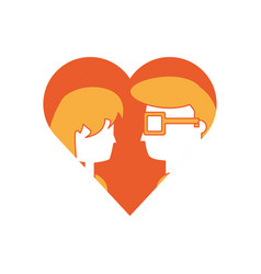 heart with couple icon vector image