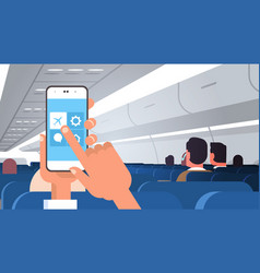 Human hand holding smartphone with flight mode vector