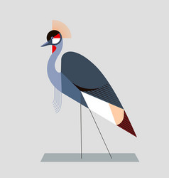image of a crowned crane in a geometric style vector image