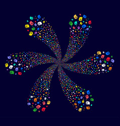 intellect gears spiral flower cluster vector image