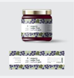Jam black currant label packaging jar sugar free vector