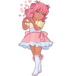 kawaii girl showing heart shape gesture vector image