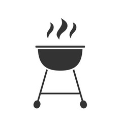 Kettle barbecue grill glyph icon vector