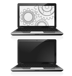 Laptop with gears on the screen vector