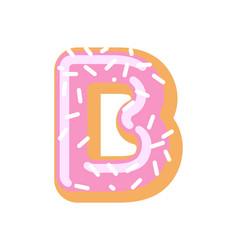 letter b donut font doughnut alphabet sweet vector image