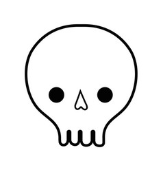 Line skull danger symbol to caution alert vector