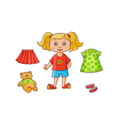little girl her dress skirt shoes teddy bear vector image