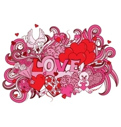 Love doodles background vector image