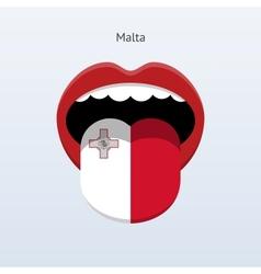 Malta language Abstract human tongue vector