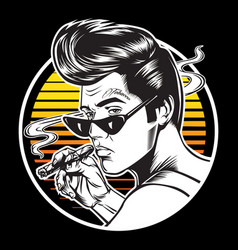 Man sunset smoke cigar tattoo vintage vector