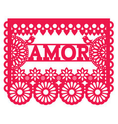 Mexican papel picado design - amor garland vector