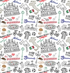 Milan Italy seamless pattern with Hand drawn vector