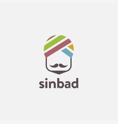 Minimalist sinbad indian arabian head logo icon vector