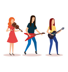 Musical band playing instruments vector