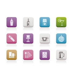 Night club and bar icons vector