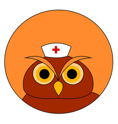owl with medical hat on white background vector image