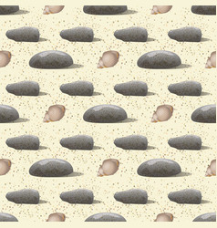 Pebbles and shell hermit crab seamless pattern vector