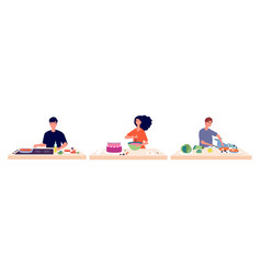 People cooking man woman baking and make food vector