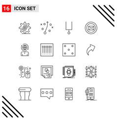 Pictogram set 16 simple outlines management vector