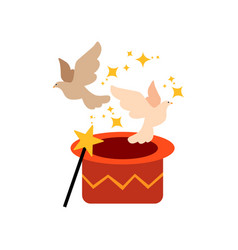 pigeons flying out from magic hat cute funny vector image