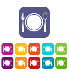 place setting with platespoon and fork icons set vector image