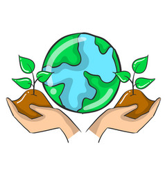 Plant tree on the world doodles vector
