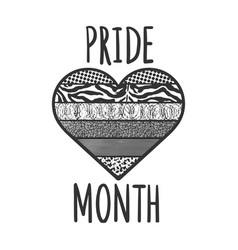 pride month black heart line art sketch vector image