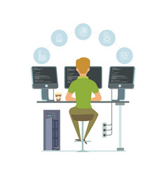 programmer information technology worker vector image