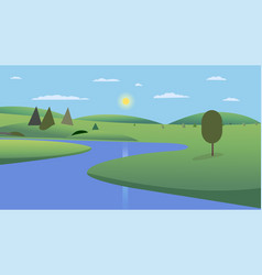 public park with trees hills and sky background vector image