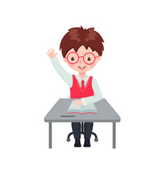 pupil boy raising hand for an answer at desk vector image