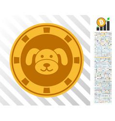 Puppy casino chip flat icon with bonus vector