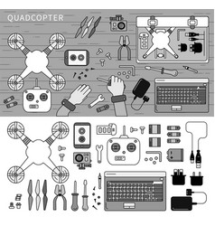 quadcopter kit on table line monochrome vector image