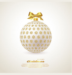 realistic christmas white bauble vector image