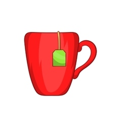 Red cup with tea bag icon cartoon style vector