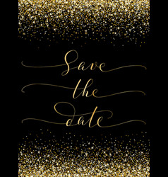 save date card with falling glitter confetti vector image