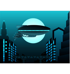 science fiction zeppelin in front of urban vector image