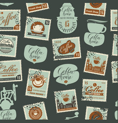 seamless pattern on coffee theme with postmarks vector image